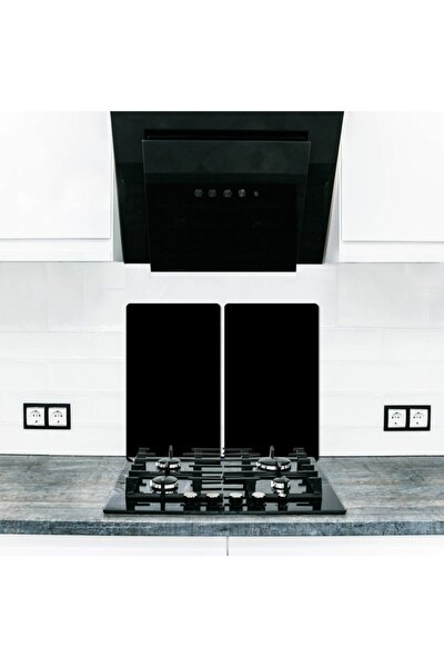 Cam Ocak Koruyucu Ve Kesim Tablası Düz Siyah (80cm X 52cm) 2 Parça, 5'li Ocaklar