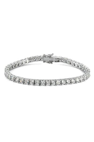 Diamond Montür, 7.1 Karat Swarovski Zirkon Taşlı, Gümüş Su Yolu Bileklik