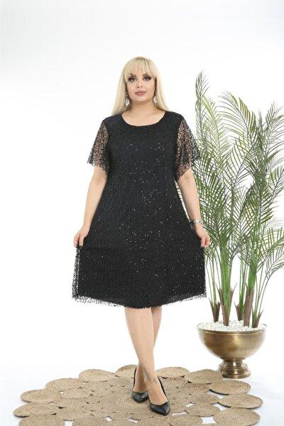 Kadın Büyük Beden Siyah Kısa Payetli Abiye Elbise