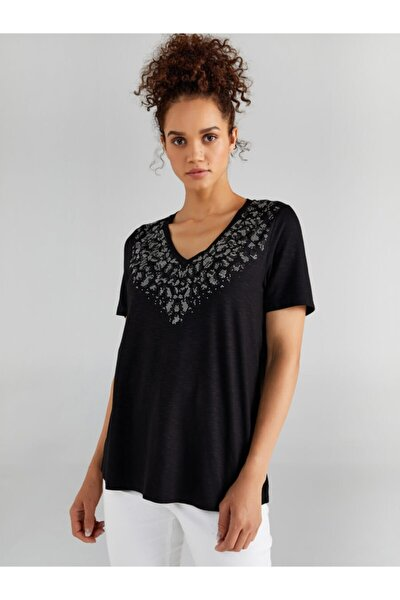 Kadın Siyah V Yakalı Taş Detaylı T-shirt