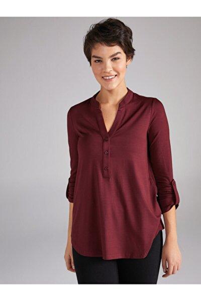 Kadın Bordo Kaçık Yaka Uzun Kollu T-shirt