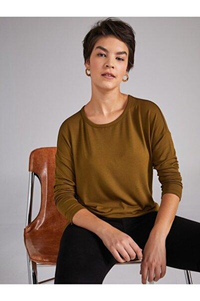 Kadın Yeşil Yuvarlak Yaka Uzun Kol T-shirt