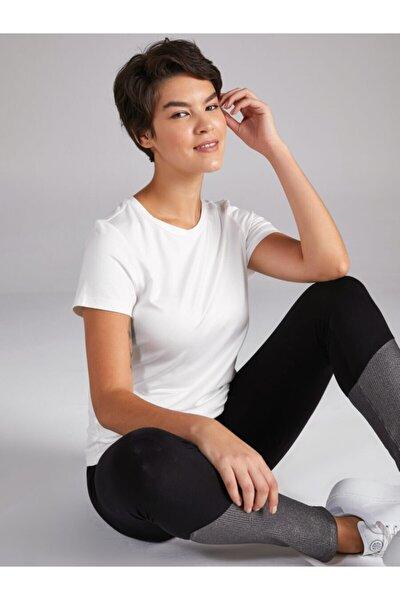 Kadın Ekru Yuvarlak Yaka Kısa Kol T-shirt 00002