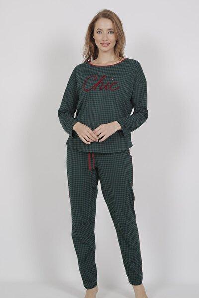 Kadın Uzun Kol Normal Beden Yazılı Desen Yesil Pijama Takım