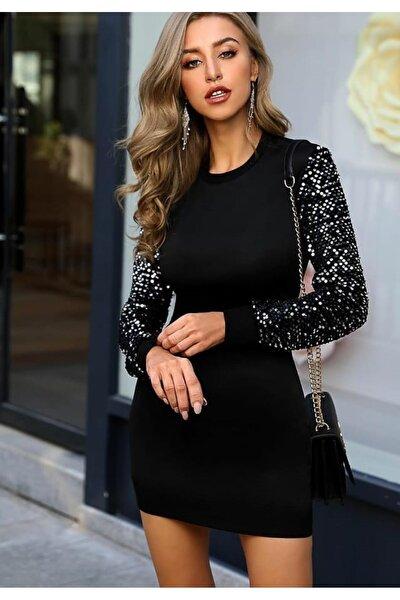 Kadın Siyah Kolları Payetli Kalem Elbise