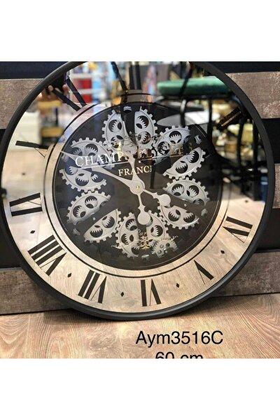 Metal Çarklı Saat 60 Cm Çap Aynalı Aym