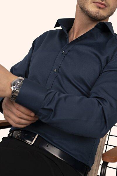 Zümrüt Yeşili Kare Düğmeli Erkek Gömlek