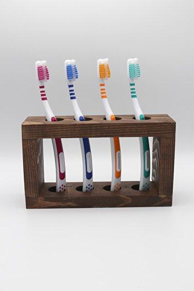 Ahşap Diş Fırçalık Diş Fırçası Standı 4 Bölmeli Diş Fırçalığı