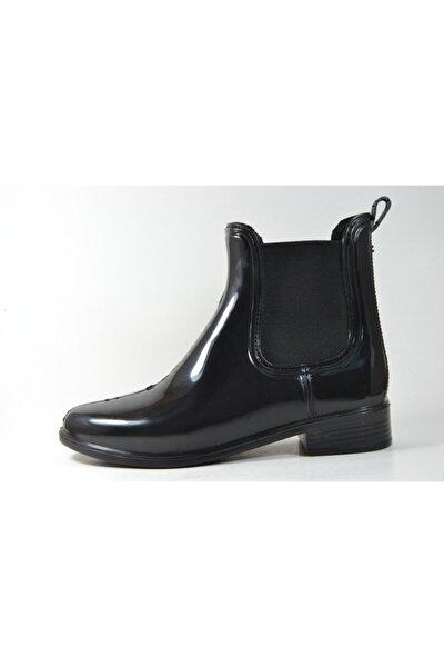 Kadın Siyah Lastikli Kısa Plastik Yağmur Çizmesi