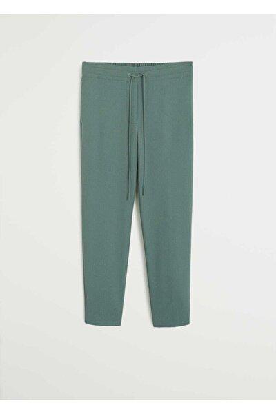 Kadın Yeşil Düz Kesim Kumaş Pantolon 67023256
