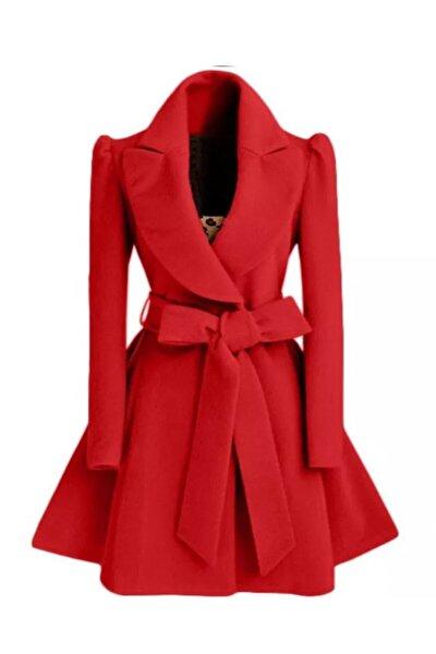 Kadın Kırmızı Ithal Kaşe Eteği Volanlı Kuşaklı Mont