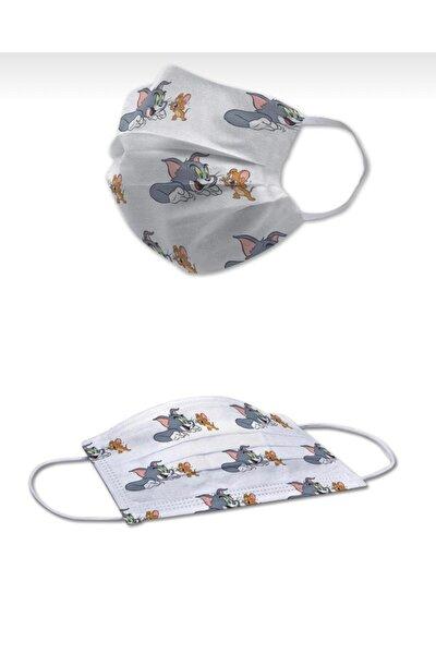 Çocuk 3 Katlı Telli Tom ve Jeri 50'lik Kutu Desenli Dijital Baskılı Maske Arl652