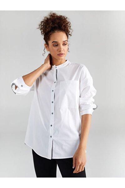 Kadın Beyaz Şerit Detaylı Uzun Kol Gömlek 61341