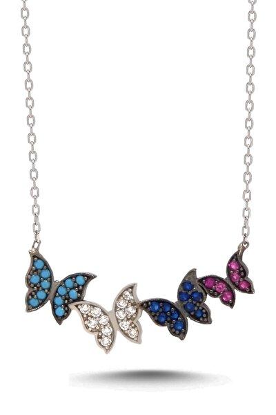 Kadın Renkli Kelebekler Gümüş Kolye