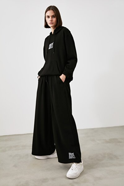Siyah Wide Leg Örme Eşofman Altı TWOAW21EA0417
