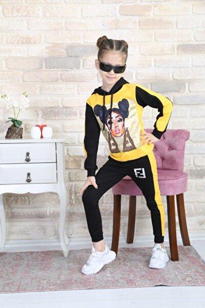 Kız Çocuk Sarı Kapüşonlu Alt Üst Eşofman Takımı