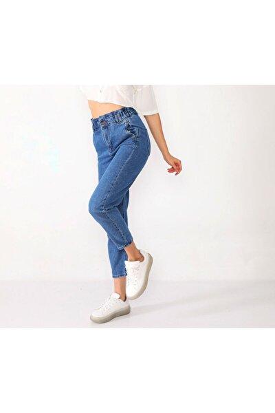 Kadın Açık Mavi Belden Lastikli Mom Pantolon Sb0042