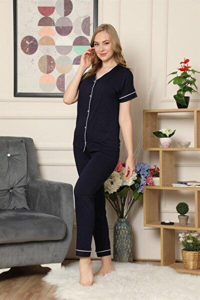 Kadın Lacivert Kısa Kollu Önden Düğmeli Biye Detaylı Pijama Takımı