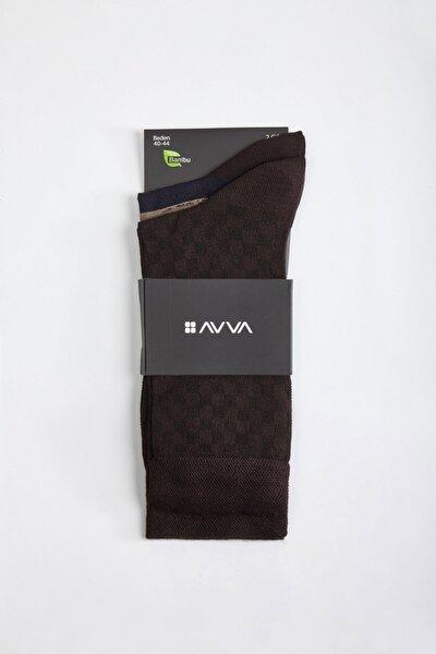 Erkek Kahve Desenli Soket Çorap A02Y8516