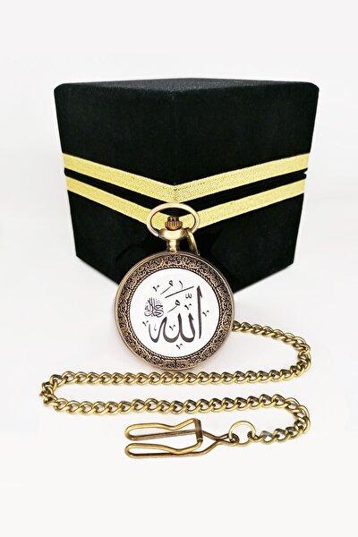 Allah Cc Ve Ayet El Kürsi Yazılı Vintage Köstekli Cep Saati Ahşap Kadife Kaplı Kabe Kutusunda