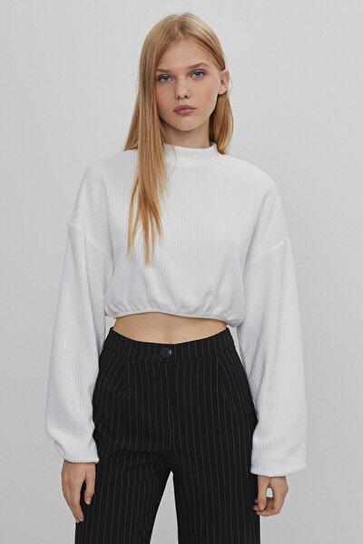 Elastik Detaylı Fitilli Crop Fit T-shirt