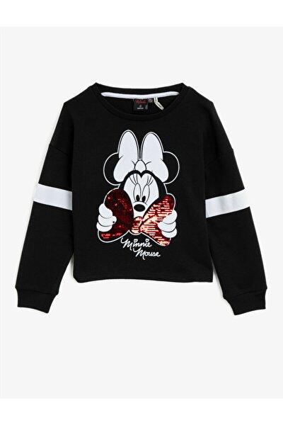 Kız Çocuk Siyah Minnie Mouse Lisanslı Baskılı Pullu Bisiklet Yaka Sweatshirt