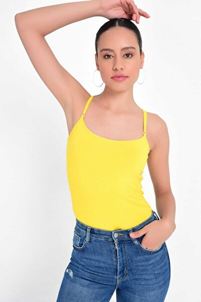 Kadın Sarı İp Askılı Basic Atlet