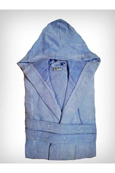 Unisex Mavi Kadife Kapüşonlu Bornoz