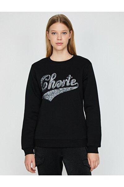 Kadın Siyah Pul Detaylı Sweatshirt