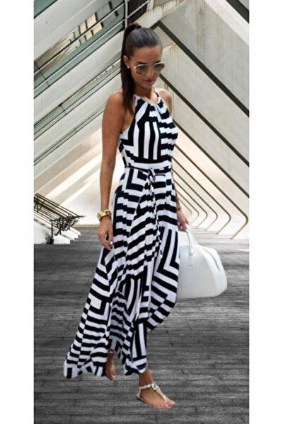 Siyah Beyaz Günlük Uzun Krep Kumaş Elbise