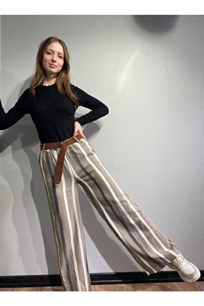 Kadın Füme Örgü Kemer Çizgili Pantolon