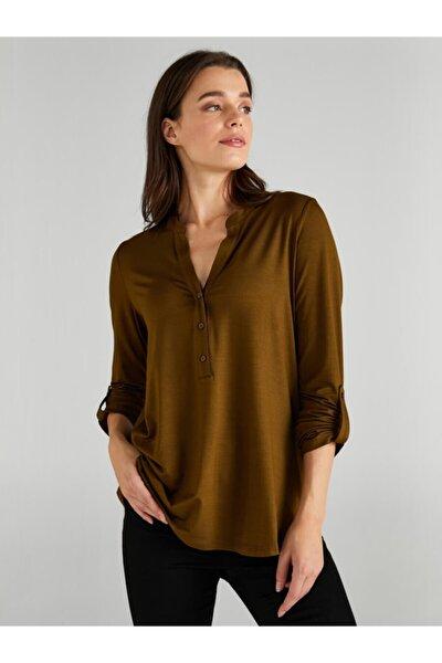 Kadın Yeşil Kaçık Yaka Uzun Kollu T-shirt