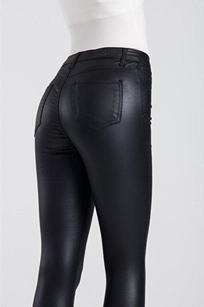 Kadın Siyah Yüksek Bel Mumlu Pantolon