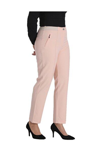 Kadın Pembe Kumaş Normal Bel Düz Paça Pantolon Nvr2152