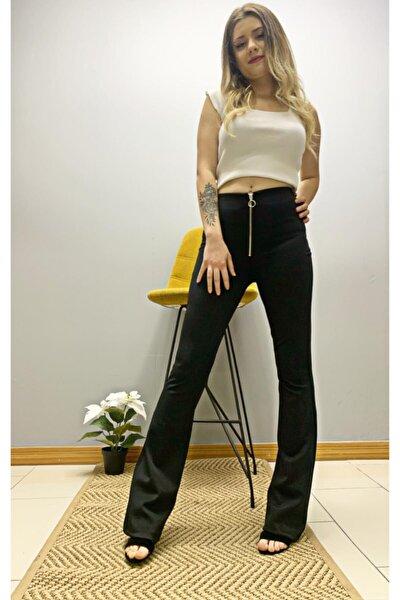 Kadın Siyah Önü Bağcıklı Ispanyol Pantolon