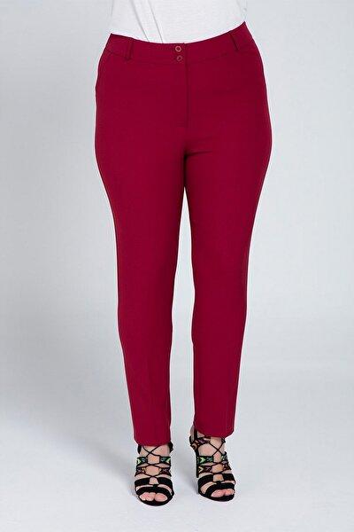 Kadın Bordo Kumaş Yüksek Bel Düz Paça Pantolon Rg1294