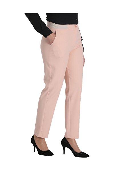 Kadın Pudra Kumaş Normal Bel Düz Paça Pantolon Nvr2151