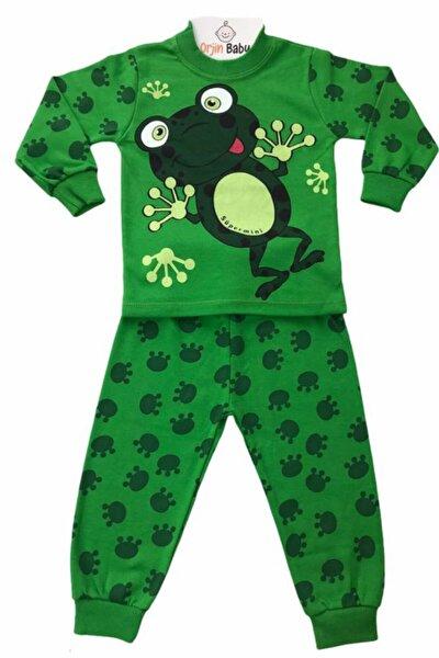 Çocuk Yeşil Pijama Takımı Kurbağa Baskılı 1-2-3 Yaş
