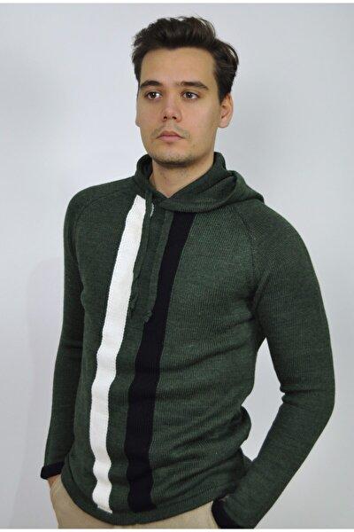 Erkek Yeşil Kapüşonlu Triko Kazak