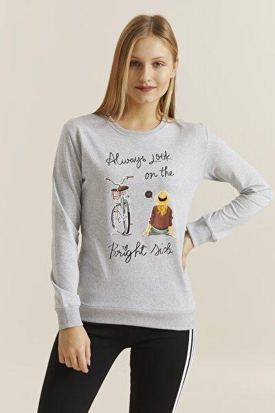 Kadın Grimelanj Baskılı Sweatshirt 19710