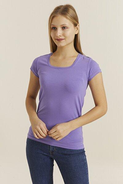 Kadın Violet Kare Yaka Likralı T-shirt 19060