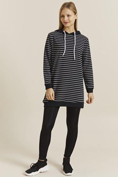 Kadın Siyah Beyaz Çizgili Kapüşonlu  Manşetli Tunik Sweatshirt 19385
