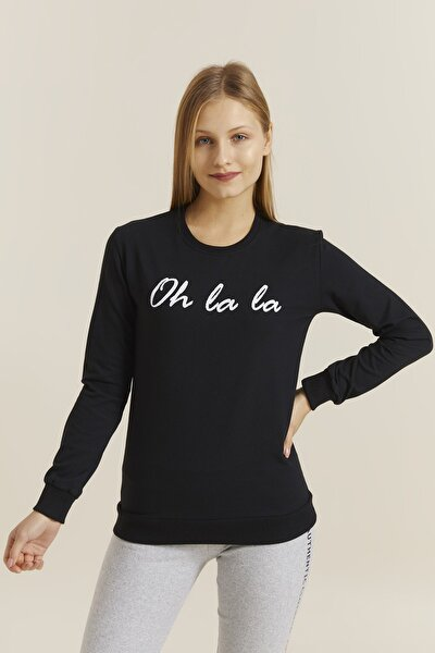 Kadın Siyah Baskılı Sweatshirt 19392