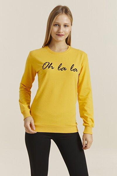 Kadın Sarı Baskılı Sweatshirt 19392