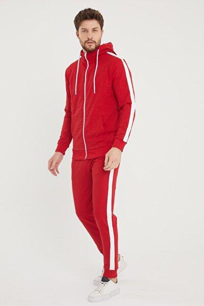 Şeritli Kapüşonlu Eşofman Takımı Kırmızı