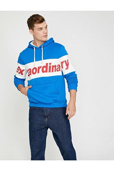 Erkek Mavi Yazılı Baskılı Sweatshirt