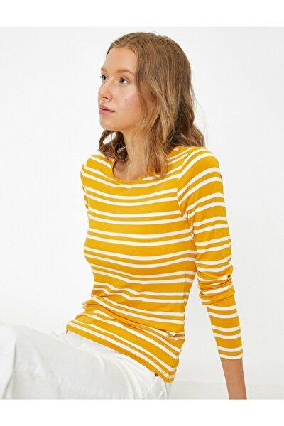 Kadın Sarı Uzun Kollu Çizgili T-Shirt