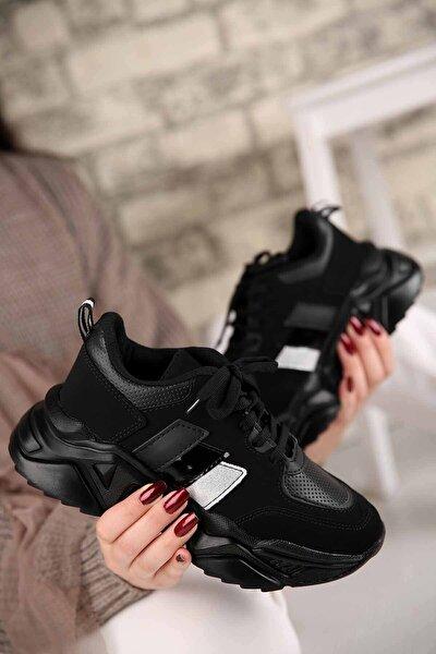 Kadın Bantlı Spor Ayakkabı Siyah Nubuk Siyah