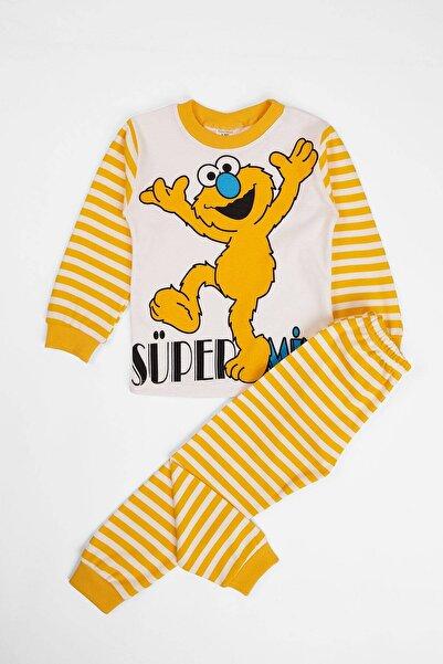Unisex Çocuk Sarı Pijama Takımı Canavar Baskılı