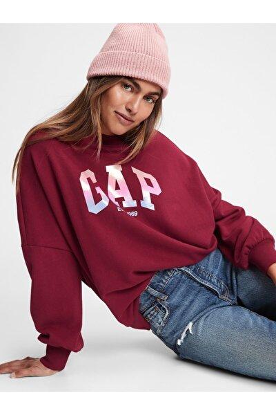 Kadın Bordo Logo Yuvarlak Yaka Sweatshirt